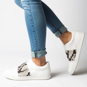 Vince Vista White and Python Leather Sneakers